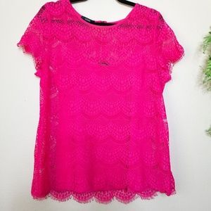 Alfani | Pink Lace Layered Top